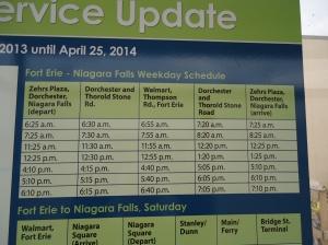 Fort Erie Niagara Falls Weekday Schedule Niagara Regional Bus Walmart FE stop till 25 Apr 2014
