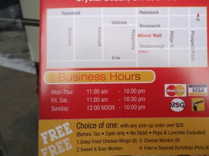 business hours mon to sun Great Wall Dine in Take Out Chinese (Thai) Restaurant 264 Ridgeway Rd, Crystal Beach, ON 905 894 9888 - 905 894 9088 idea girl canada linda randall