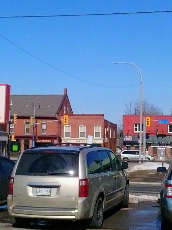 view of Elm St towards lights at Main St in Grimsby Ontario Canada by Thrift Store