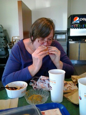 Dorothy enjoys burger fries pop combo harveys at swiss chalet grimsby ontario